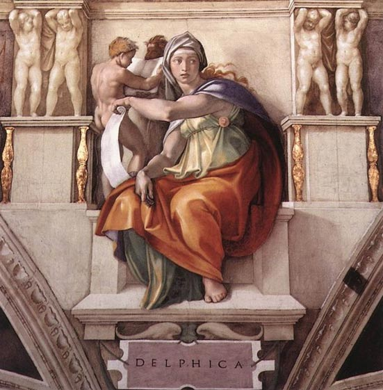 Делфийският оракул. Michaelangelo. Sistine Chapel, Vatican City / Wikimedia Commons